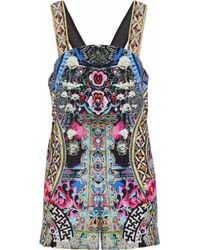 Camilla - Sequin-embellished Printed Cotton Playsuit - Lyst