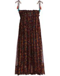 Antik Batik - Shirred Printed Georgette Dress - Lyst
