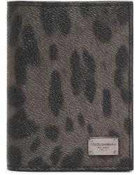 Dolce & Gabbana - Leopard-print Textured-leather Cardholder - Lyst