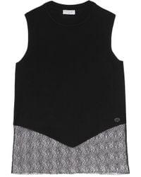 Vionnet - Mesh-paneled Wool-blend Top - Lyst