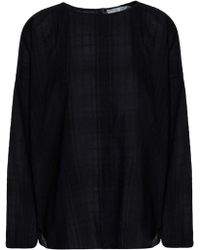 Vince - Woman Embroidered Cotton-gauze Top Black - Lyst