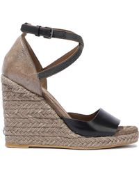 Brunello Cucinelli - Woman Bead-embellished Smooth And Glittered-leather Espadrille Wedge Sandals Black - Lyst