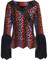 Peter Pilotto - Woman Wool-blend Jacquard Sweater Midnight Blue Size Xl - Lyst