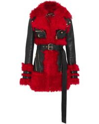 Alexander McQueen - Leather And Shearling Coat - Lyst