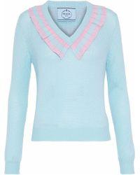 Prada - Striped Ruffle-trimmed Cashmere Sweater - Lyst