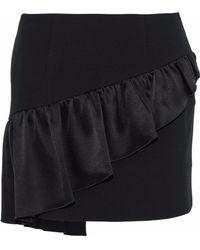 Cinq À Sept - Ruffled Satin-paneled Crepe Mini Skirt - Lyst