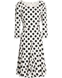 Dolce & Gabbana - Pleated Polka-dot Silk-blend Dress - Lyst