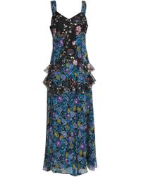 Anna Sui - Ruffled Printed Tulle And Silk-georgette Midi Dress - Lyst