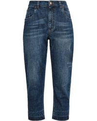 Brunello Cucinelli - Woman Distressed High-rise Boyfriend Jeans Mid Denim - Lyst