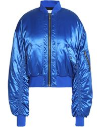 MSGM - Woman Ruched Shell Bomber Jacket Bright Blue - Lyst
