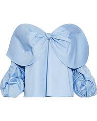 Johanna Ortiz - Caravan Off-the-shoulder Bow-embellished Cotton-poplin Blouse - Lyst