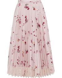 RED Valentino - Woman Lace-trimmed Pleated Satin-twill Midi Skirt Pastel Pink - Lyst
