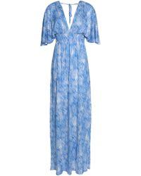 Melissa Odabash - Shirred Printed Voile Maxi Dress - Lyst