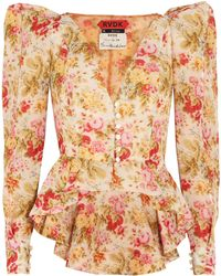 Ronald Van Der Kemp - Woman Floral-print Cotton And Silk-blend Voile Jacket Multicolour - Lyst