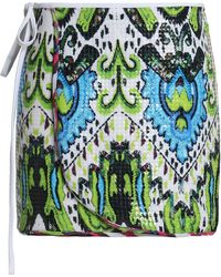 Just Cavalli - Sequined Printed Stretch-jersey Wrap Skirt Lime Green - Lyst