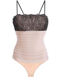 Hervé Léger - Lace-paneled Bandage Bodysuit - Lyst