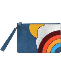 Anya Hindmarch - Suede, Smooth And Snake-effect Leather Pouch Cobalt Blue - Lyst