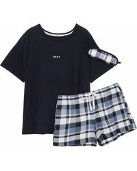 DKNY - Printed Jersey And Checked Flannel Pyjama Set - Lyst
