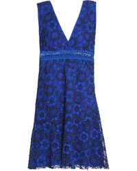 Sandro - Fluted Guipure Lace Mini Dress Bright Blue - Lyst