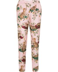 Dolce & Gabbana - Printed Silk-twill Tapered Pants Baby Pink - Lyst