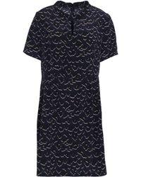 Markus Lupfer - Pleated Printed Silk Crepe De Chine Mini Dress - Lyst