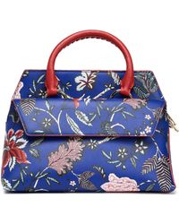 Diane von Furstenberg - Printed Textured-leather Tote Bright Blue - Lyst