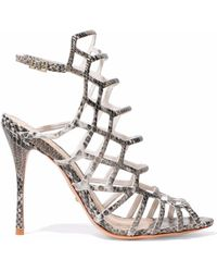 Schutz - Juliana Cutout Python-effect Leather Sandals - Lyst