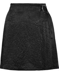 Opening Ceremony - Woman Pleated Crinkled-satin Wrap Mini Skirt Black - Lyst