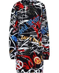 Love Moschino Printed French Cotton-terry Mini Dress Multicolour