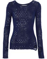 Maison Margiela - Distressed Open-knit Silk Sweater - Lyst
