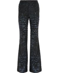 Roberto Cavalli - Embellished Silk Flared Trousers - Lyst