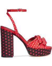 Tabitha Simmons - Jodie Polka-dot Twill Platform Sandals - Lyst