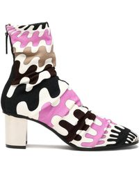 Emilio Pucci - Printed Knitted Ankle Boots - Lyst