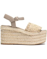 Paloma Barceló - Fringe-trimmed Woven Leather Platform Espadrille Sandals - Lyst