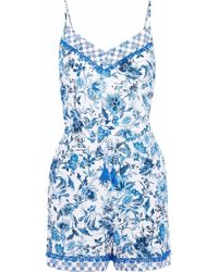 97fcfa554b Jets by Jessika Allen - Woman Provence Printed Voile Playsuit Blue - Lyst