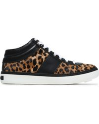 Jimmy Choo - Bells Leopard-print Calf Hair And Leather Trainers - Lyst
