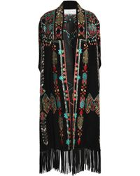 Valentino - Woman Fringed Embroidered Suede Cape Black - Lyst