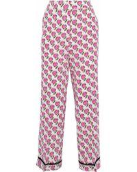 Prada - Cropped Printed Silk Crepe De Chine Straight-leg Pants - Lyst