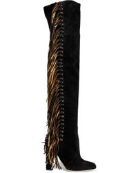 Brian Atwood - Horsy Metallic Fringed Suede Over-the-knee Boots - Lyst