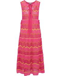 M Missoni - Bow-detailed Crochet-knit Cotton-blend Midi Dress - Lyst