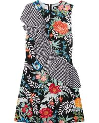 House of Holland | Ruffled Printed Cotton-poplin And Crepe Mini Dress | Lyst
