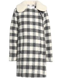 See By Chloé - Faux Shearling-trimmed Checked Brushed Woven Coat - Lyst
