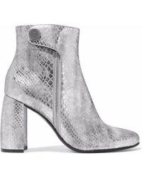 Stella McCartney - Paden Metallic Snake-effect Faux Leather Ankle Boots - Lyst