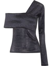 Beaufille | Lota One-shoulder Striped Stretch Cotton And Linen-blend Top | Lyst
