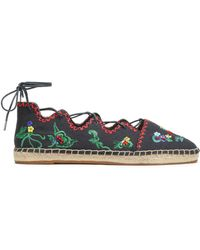Tory Burch - Gillie Lace-up Embellished Canvas Espadrilles - Lyst