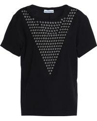 Paco Rabanne - Eyelet-embellished Stretch-jersey T-shirt - Lyst