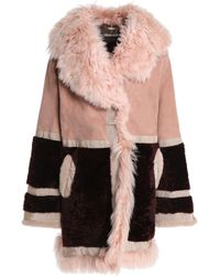 Roberto Cavalli - Paneled Shearling And Suede Coat Antique Rose - Lyst