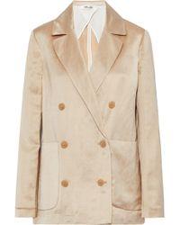 Diane von Furstenberg - Double-breasted Linen-blend Satin Jacket - Lyst
