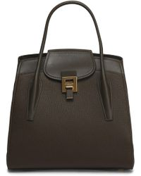 Michael Kors - Bancroft Smooth And Pebbled-leather Tote Dark Brown - Lyst