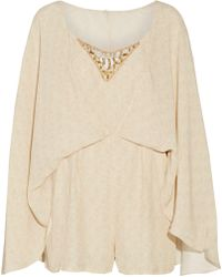 Camilla - Cape-effect Embellished Printed Crepe Playsuit - Lyst